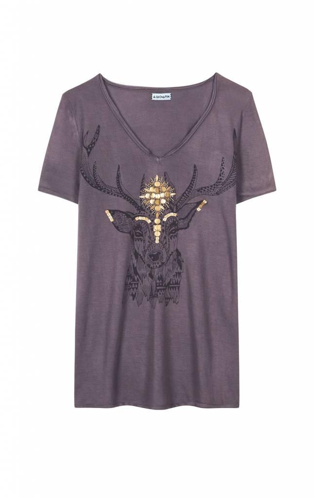 Tshirt Wood taupe short sleeves
