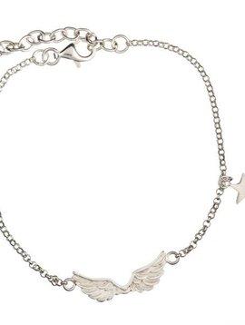 Short wings silver bracelet