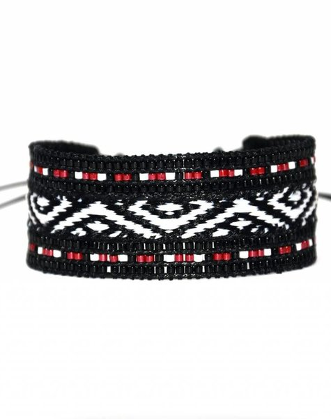 Nilu armband Zwart-rood