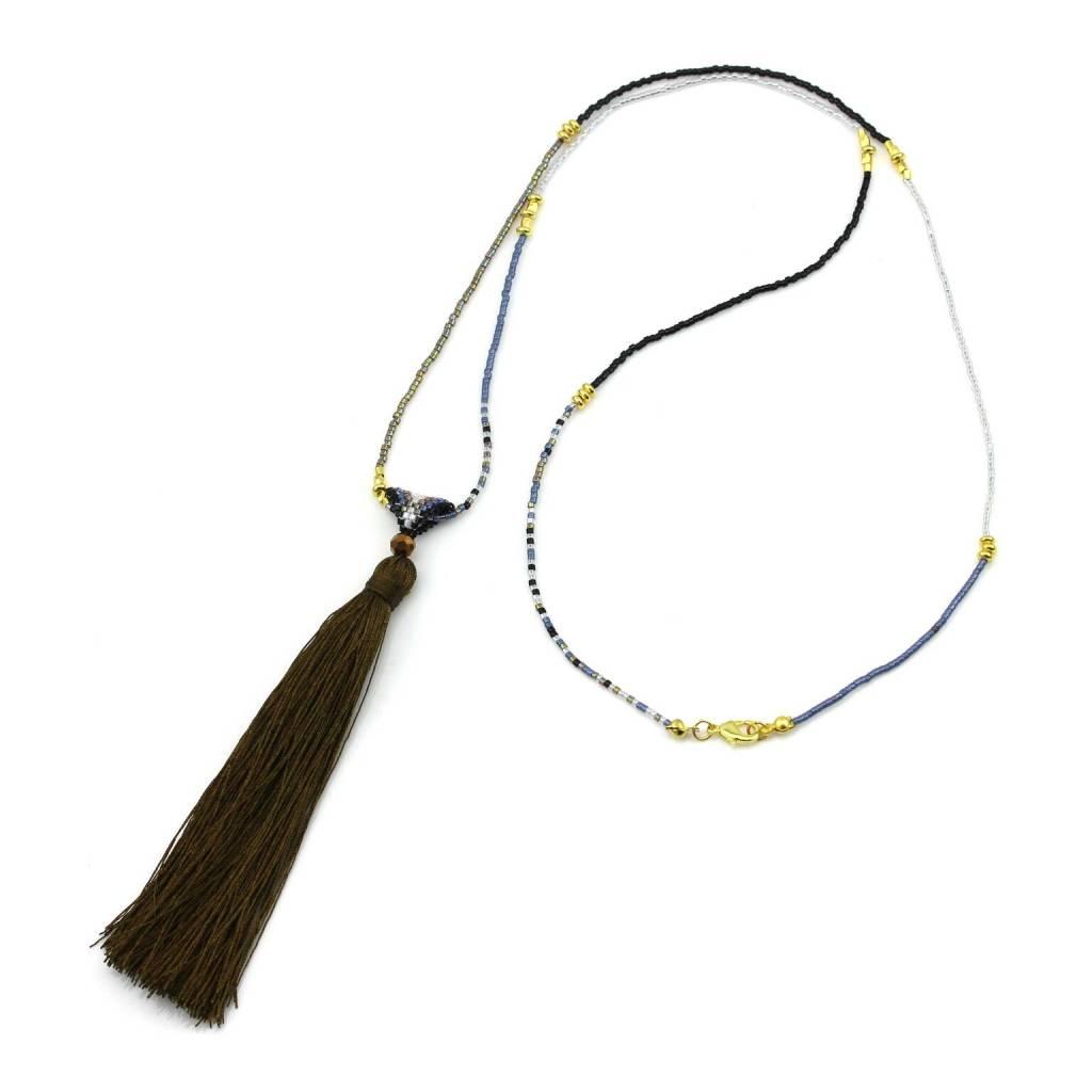 Chain tassel khaki