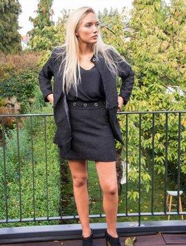 Mini-jupe lurex noir Carminn