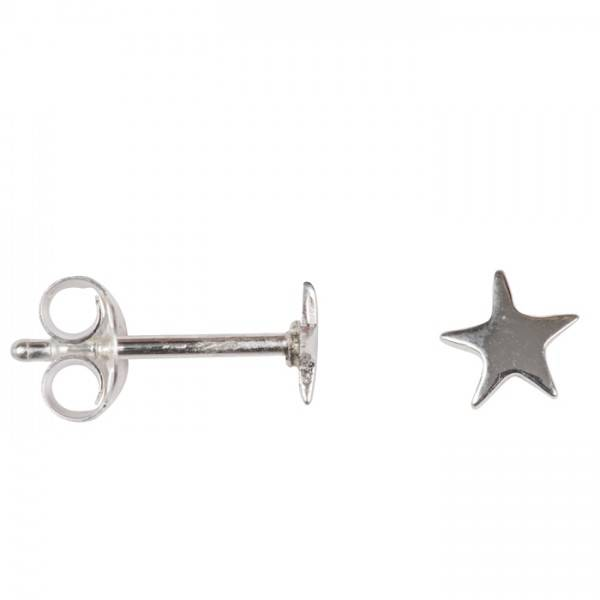 oorbel asymmetric star stud medium zilver