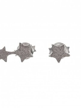 oorbel 2 connected star zilver