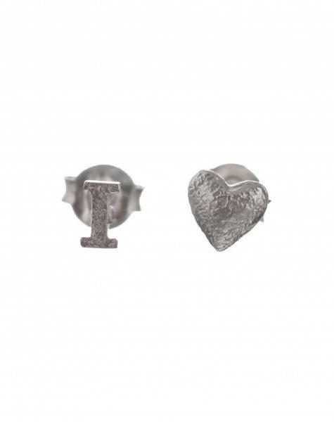 oorbel I love stud zilver