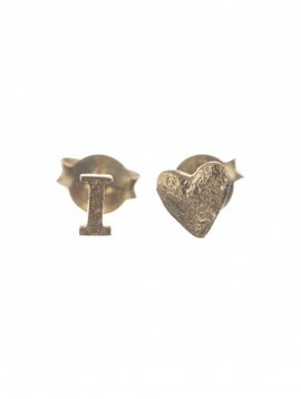 I love stud earring gold plated
