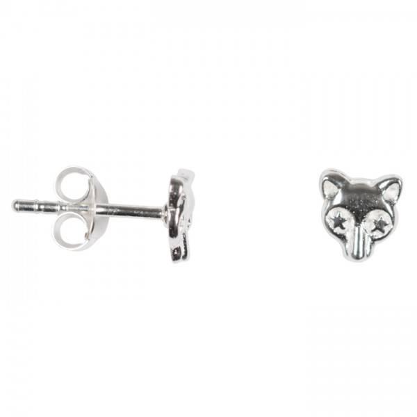 silver stud earring wolf