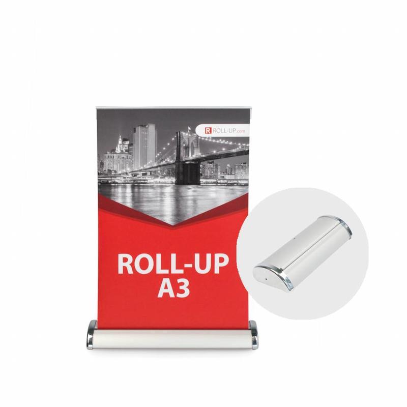 De roll up mini is de ideale eye-catcher op een klein formaat.