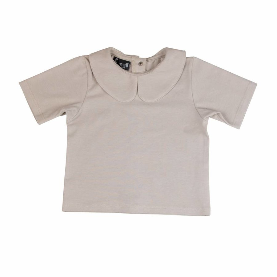 CarlijnQ Basic Collar  T-shirt Zandkleur-1