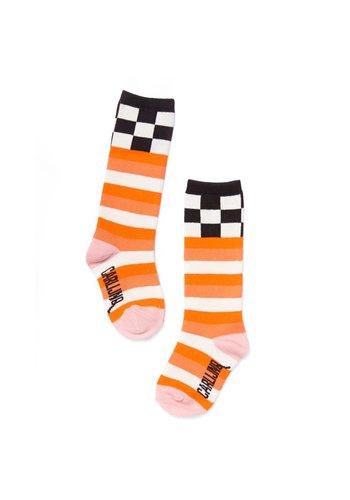 knee socks - checks / pink