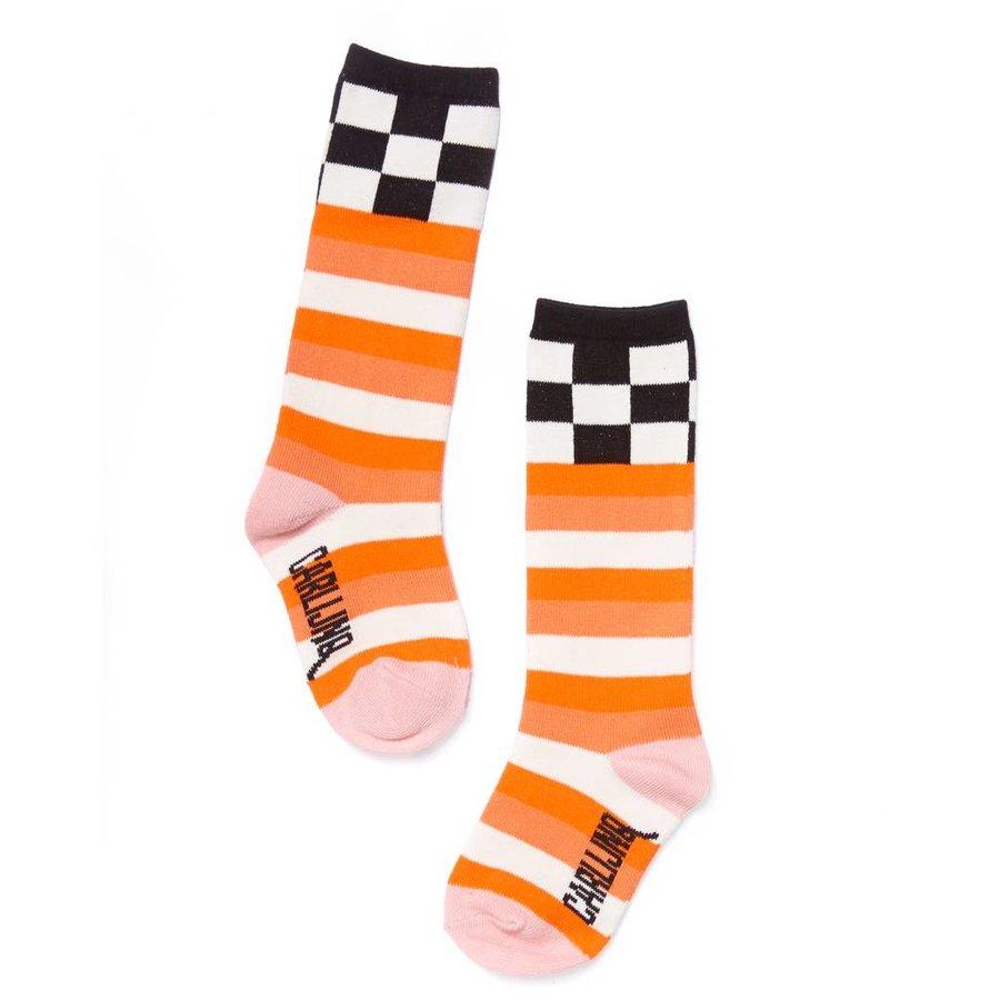 CarlijnQ - knee socks - checks / pink-1