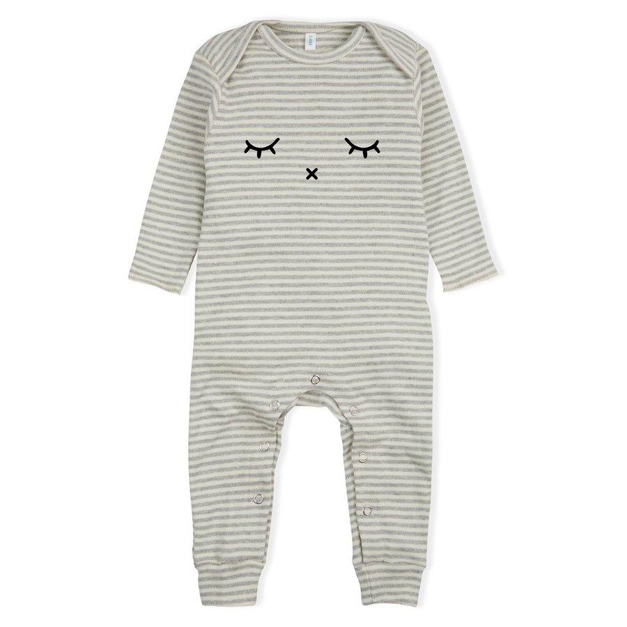 Organic Zoo - Playsuit Sleepy - Grey Stripes-1