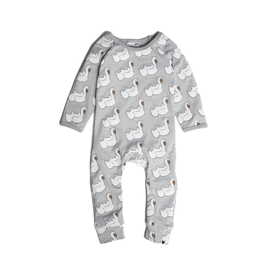 Tobias and the Bear - Swan Float long romper-1