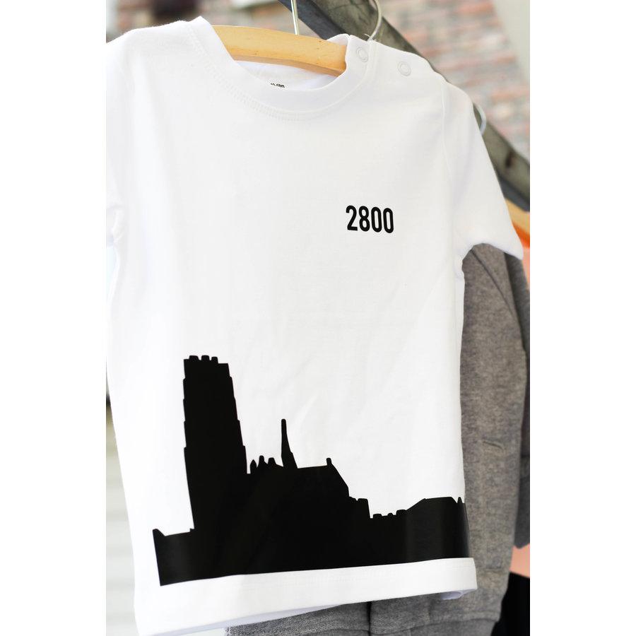 2800 by Mini Monsters - Skyline Mechelen T-shirt Wit-2