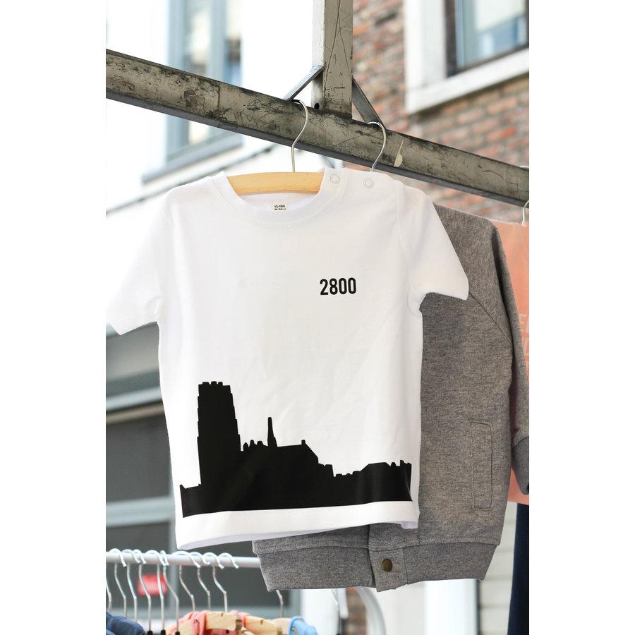 2800 by Mini Monsters - Skyline Mechelen T-shirt Wit-1