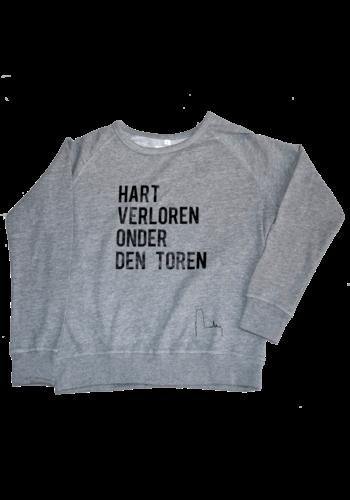 """""""Hart verloren onder den Toren"""" Volwassene sweater Grijs Unisex"""