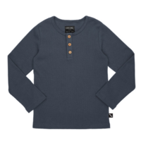 CarlijnQ - Basics - henley longsleeve (with 3 buttons / grey / rib)