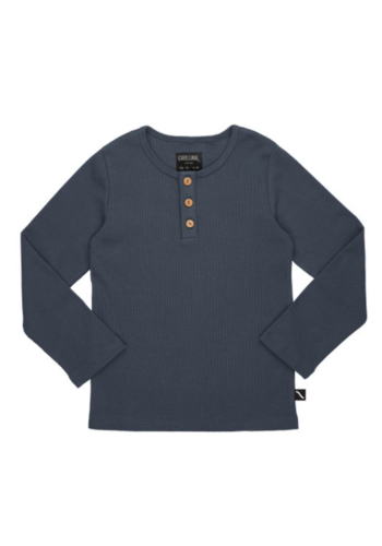 Basics - henley longsleeve (with 3 buttons / grey / rib)