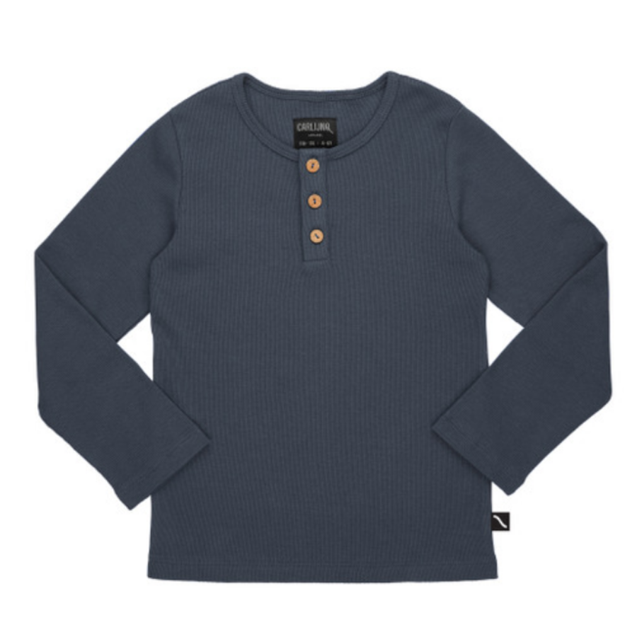 CarlijnQ - Basics - henley longsleeve (with 3 buttons / grey / rib)-1