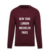 "2800 by Mini Monsters - ""New York, London, Mechelen, Paris"" Sweater Bordeaux"