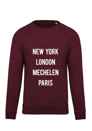 """New York, London, Mechelen, Paris"" Bordeaux - Unisex"