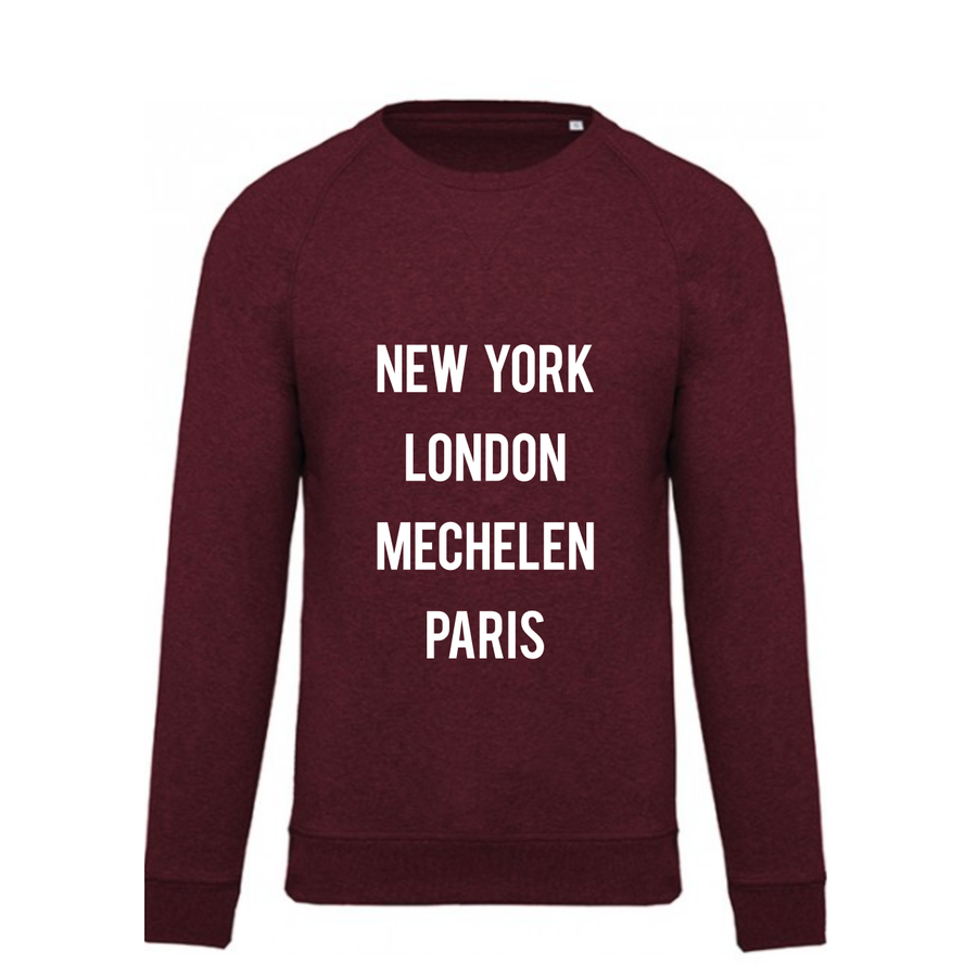 "2800 by Mini Monsters - ""New York, London, Mechelen, Paris"" Sweater Bordeaux-1"