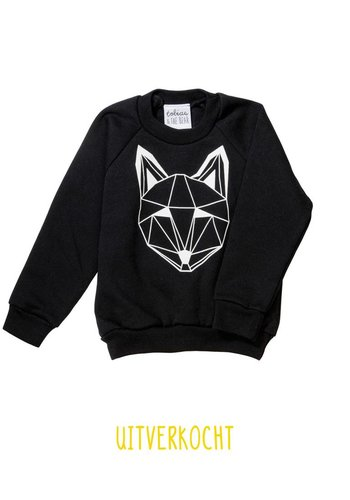 Sweater Just Call Me Fox zwart