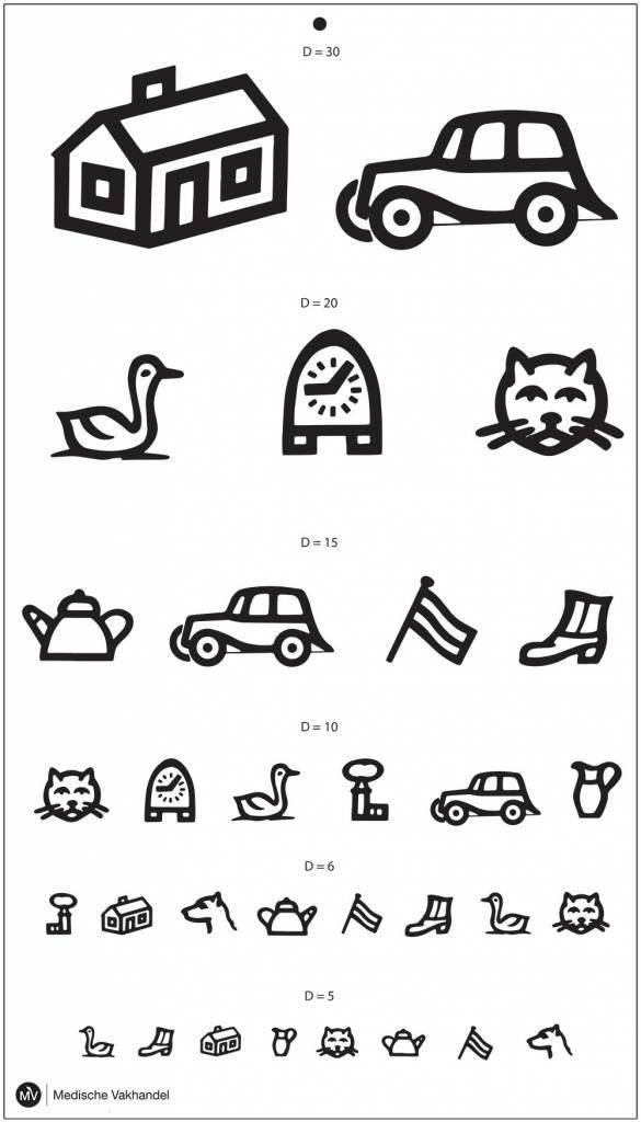 Snellen chart with symbols for children