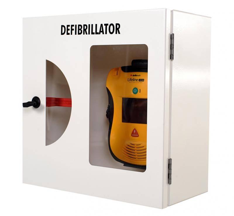 AED Wandschrank weiß mit Einschlagscheibe und Alarm