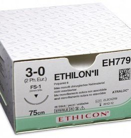 Ethicon Ethilon II usp 0 75cm FSLX blue EH7809H 36x1