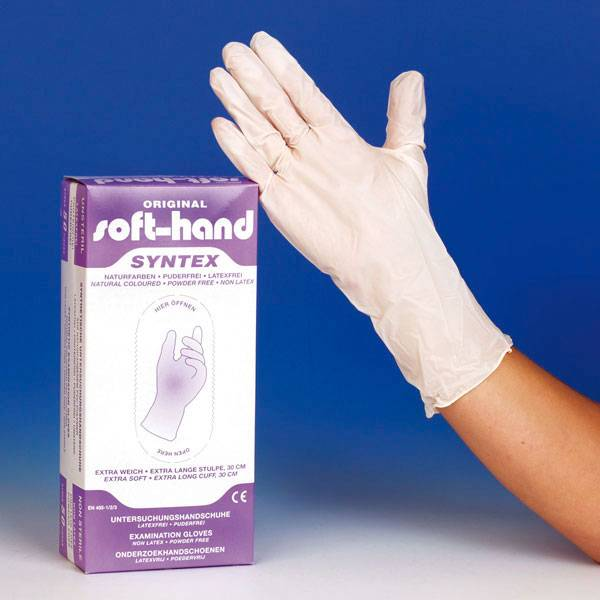 Soft-Hand Syntex puderfrei mit verlängerter Stulpe - S - 50 Stück