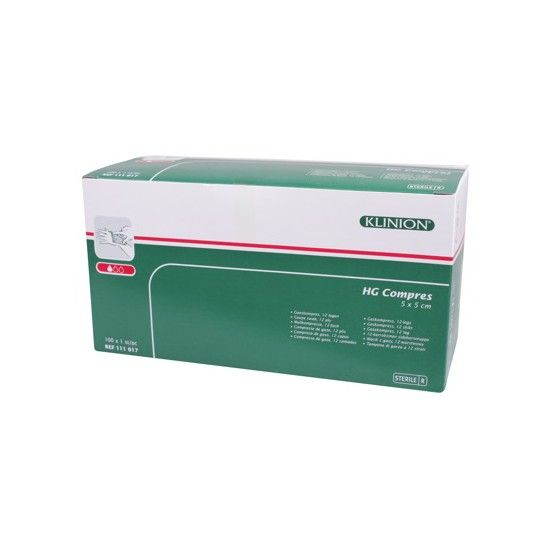 Klinion Compress HG Mullkompressen, 5 x 5 cm,  12-lagig, 100 Stück, 1111017, steril