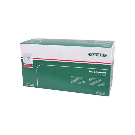 Klinion hg gauze compresses 12 ply - 5x5cm -100 pieces 1111017 Steril
