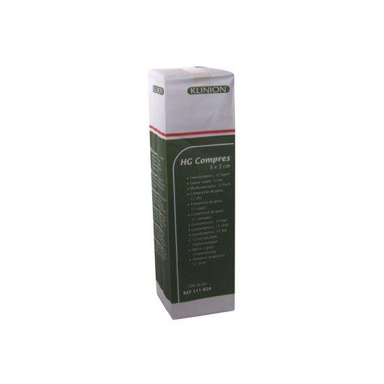 Klinion hg hydrofiel gaaskompres 5 x 5 cm 12 lagen  100 x 1 st 111028
