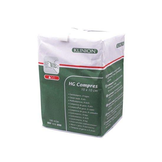 Klinion Compress HG Mullkompressen, 10 x 10 cm,  8-lagig, 100 Stück, 111098