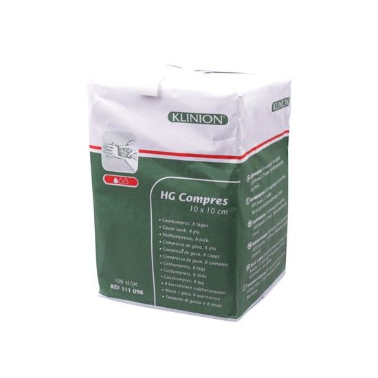 Klinion hg gauze compresses 8 ply - 10x10cm -100 pieces 111098