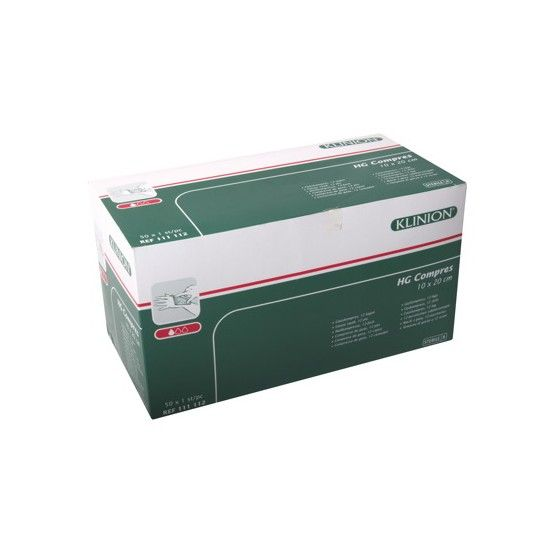 Klinion hg gauze compresses 12 ply - 10x20cm -50 pieces 111112
