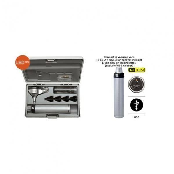 HEINE BETA®400 LED F.O. OTOSCOOP set met oplaadbaar handvat