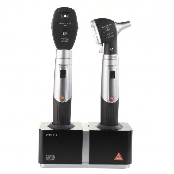 HEINE MINI3000® LED F.O. OTOSCOPE LED OPHTALMOSCOPE with table charger Set