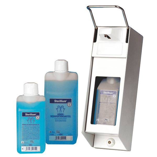 Soap and disinfection dispenser - aluminium - 500 ml