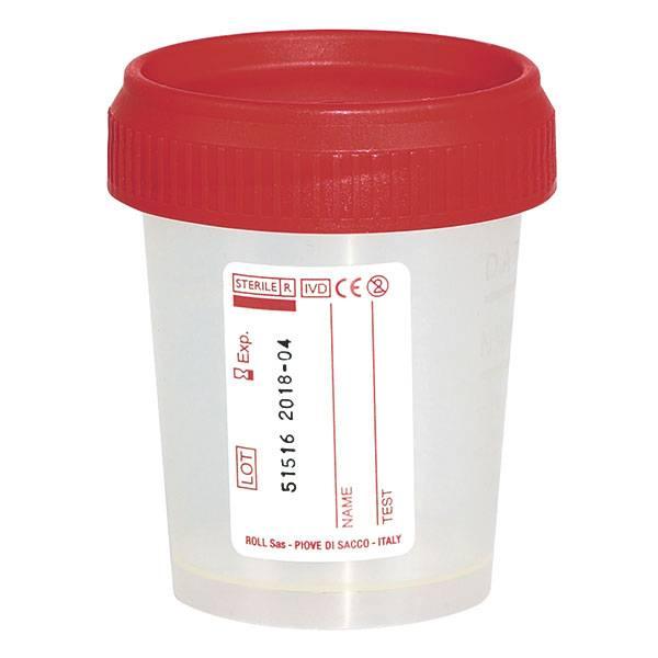 Urine specimen cups with screw caps - 60ml - 500 pieces