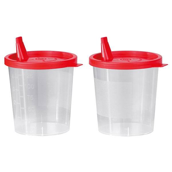 Urinebeker met klikdeksel en opening - 125 ml - niet steriel - 500 stuks