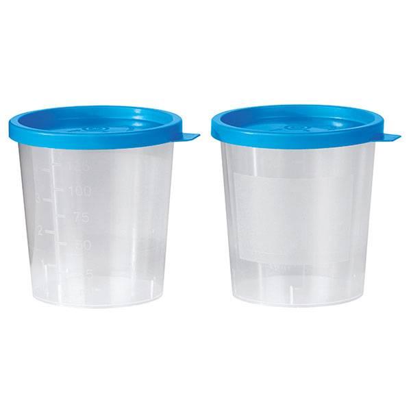 Urinebeker met blauwe klikdeksel - 125 ml