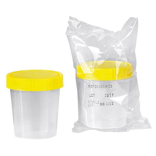 Urine specimen cup with screw cap - sterile - 125 ml - 150 pieces