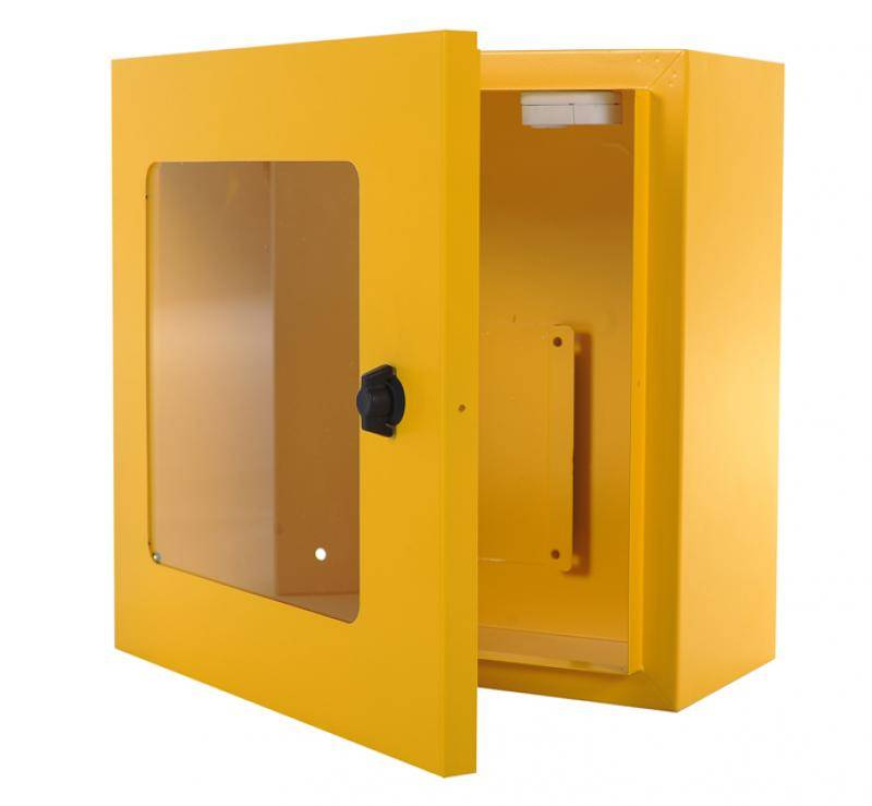 AED Wall cabinet yellow and alarm
