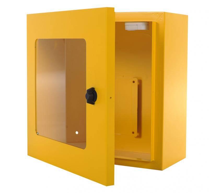 AED Wandschrank gelb mit Alarm