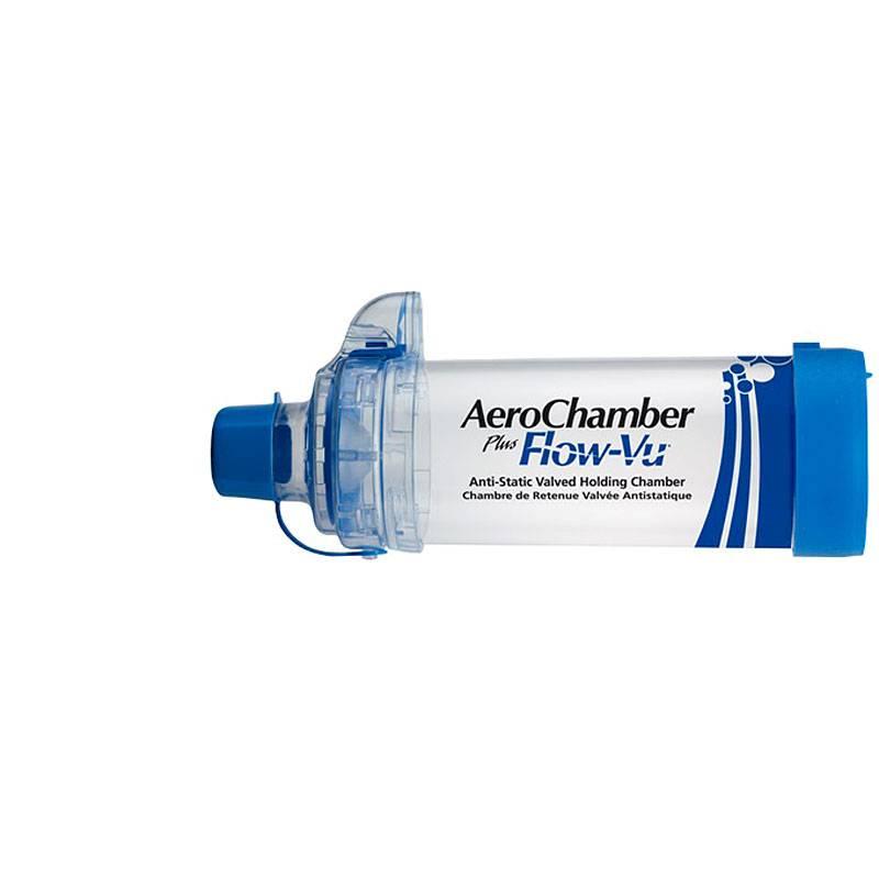 AeroChamber plus Flow-VU mit Mundstück blau - Inhalierhilfe