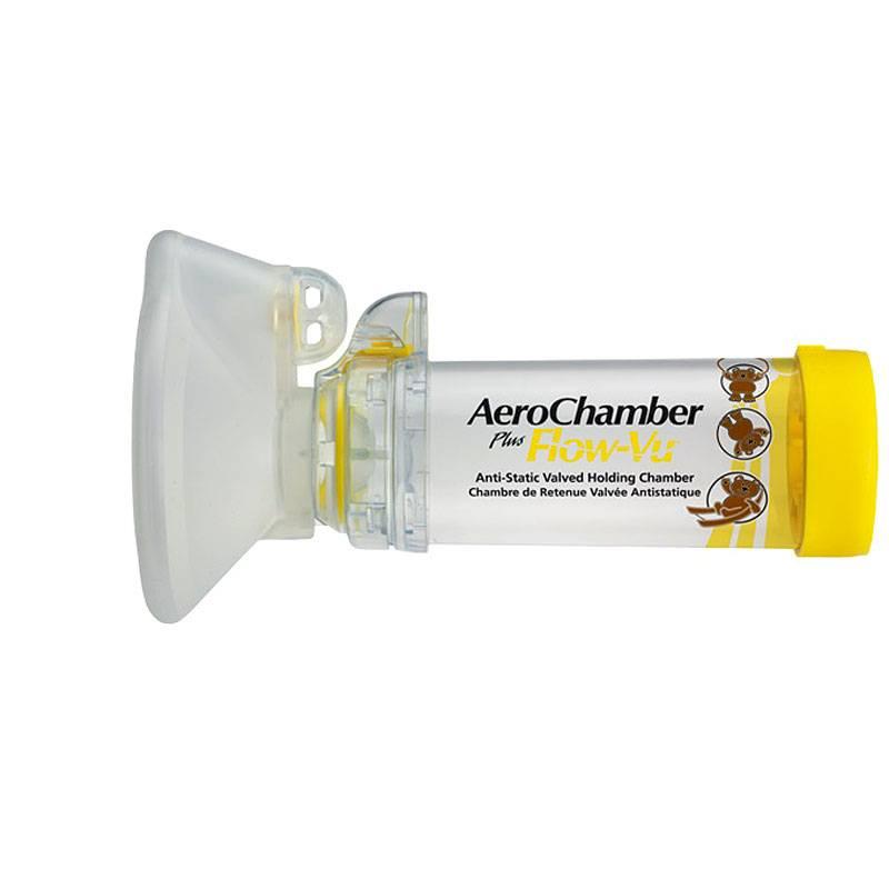 Medische Vakhandel AEROCHAMBER FLOW-VU MET KINDERMASKER GEEL 1-4JR AS 1,00 ST IVAX FARMA