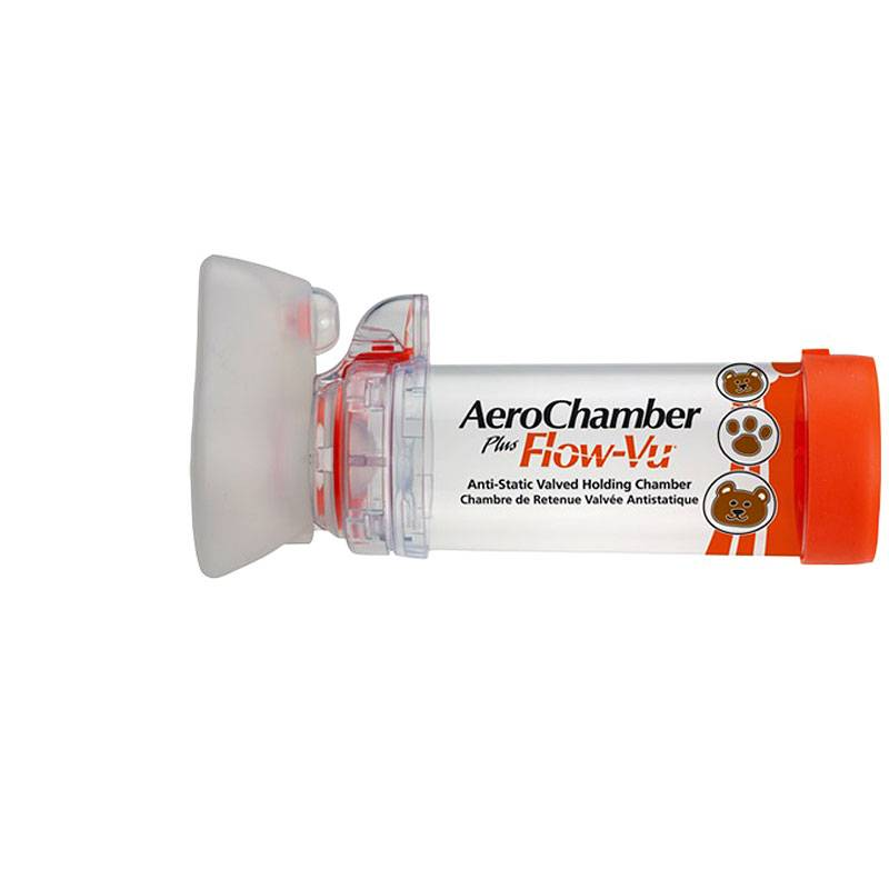 AeroChamber Flow-Vu Inhalationshilfe mit Maske für Säuglinge von 0 bis 12 Monate, orange, 1 Sück, IVAX FARMA
