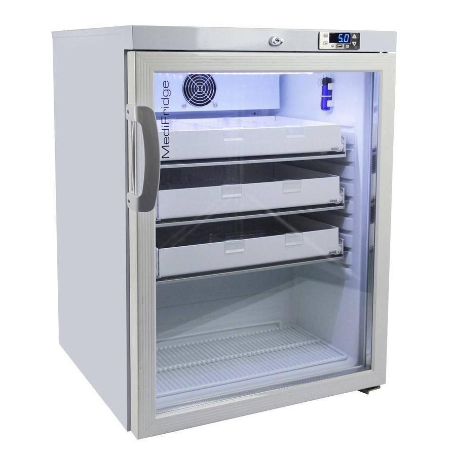 MediFridge Medizin Kühlschrank MF140L-GD - Glastür - 140 Liter - 598x595x820 mm - DIN 58345