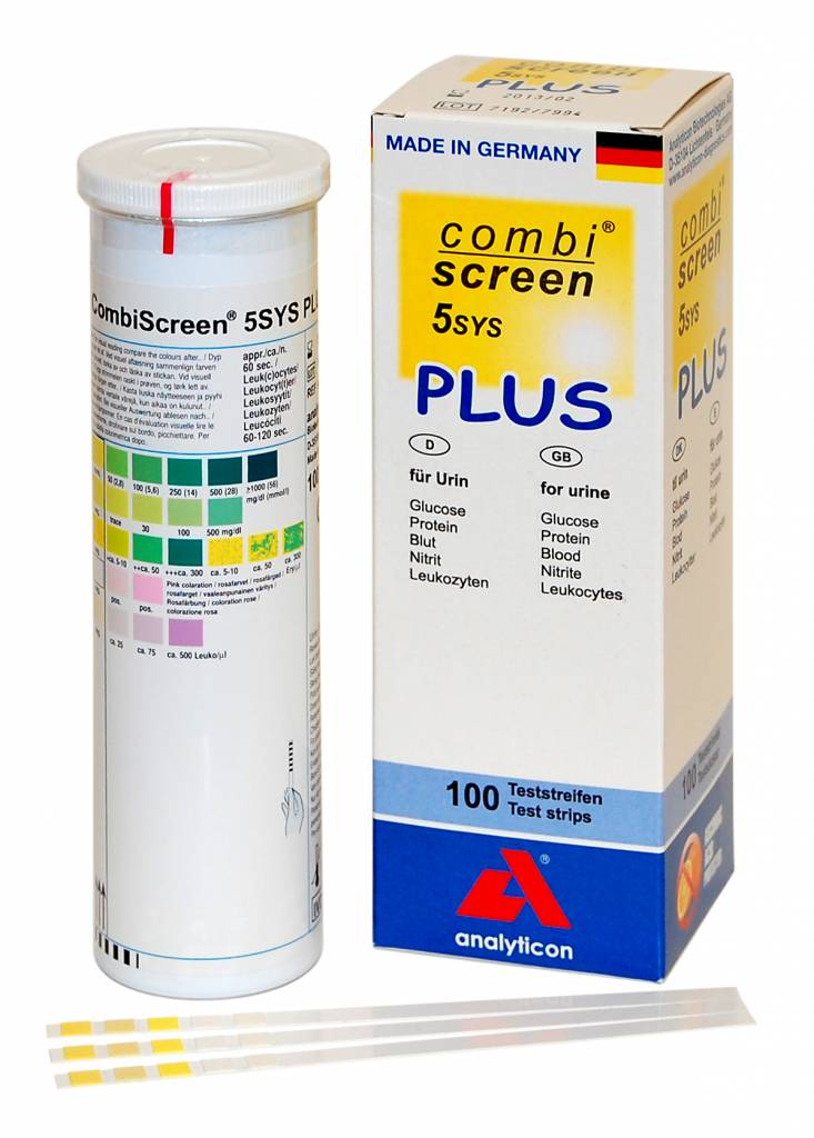 Combiscreen 5 SYS PLUS: Leukozyten, Blut, Nitrit, Glucose, Protein